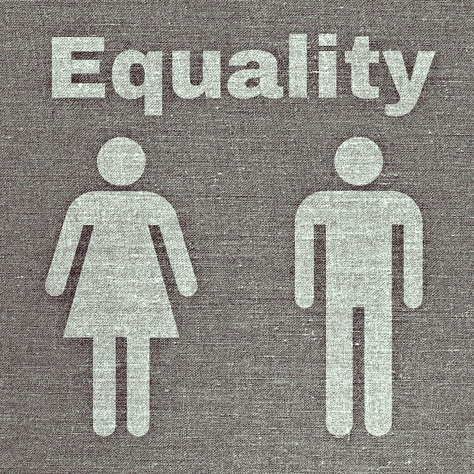 icona di donna e uomo con motto equality
